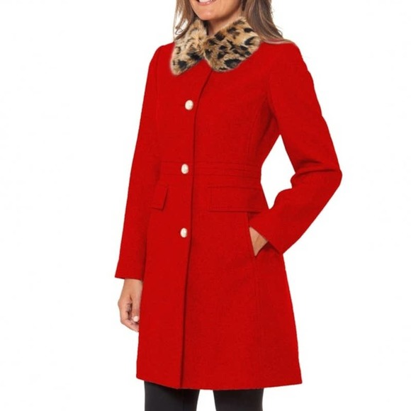 NEW Kate Spade Red Wool Pea Coat Leopard Faux-Fur Collar Medium
